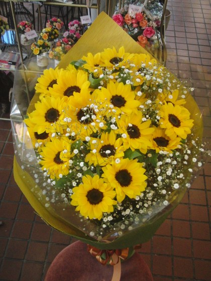 ひまわりとカスミソウの花束 HA-08のイメージ3