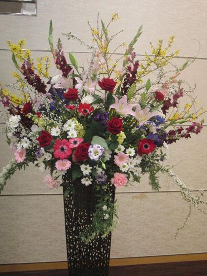 展示会御祝スタンド花のイメージ
