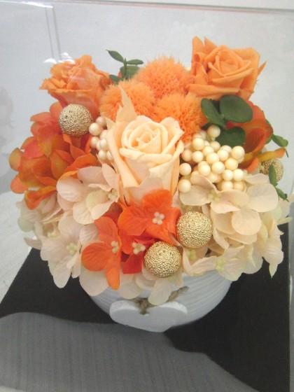 オレンジ系プリザーブドアレンジのイメージ