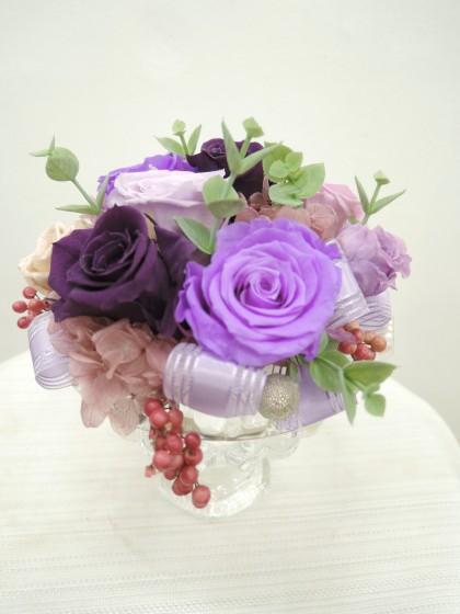 ガラスプリザーブドフラワー(紫色)のイメージ