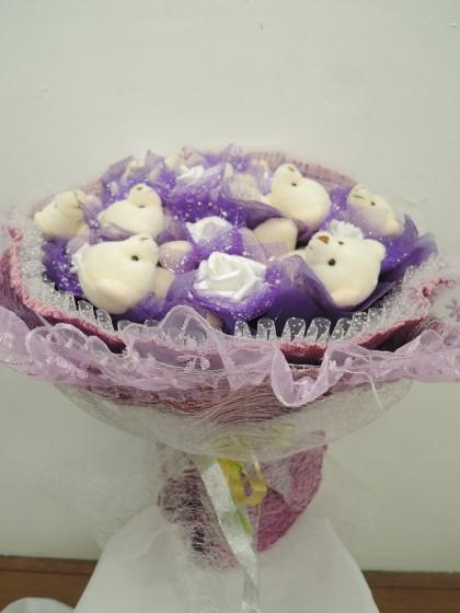 くまたば(クマの花束・紫色)のイメージ2