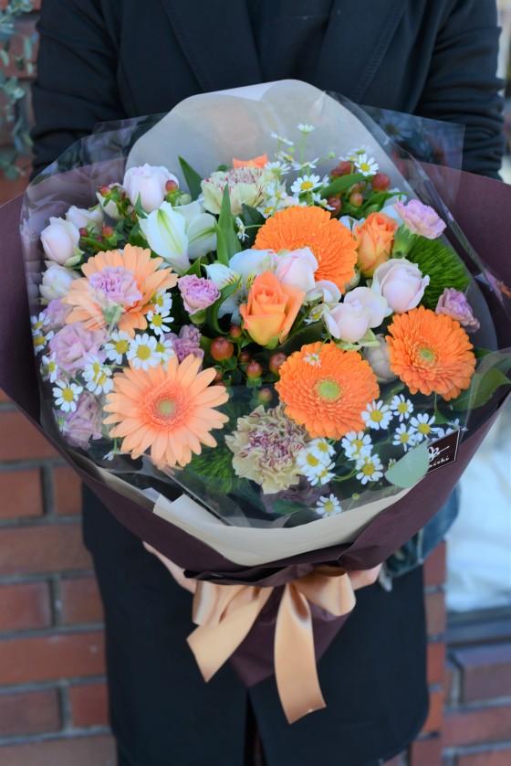 爽やかオレンジの花束 HA-38のイメージ2